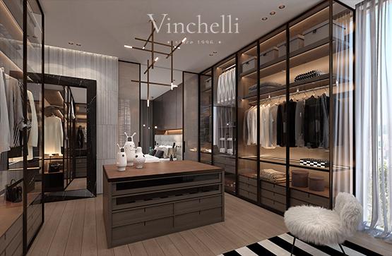 Новая коллекция современных гардеробных Vinchelli – дерево, итальянские профили и стекло